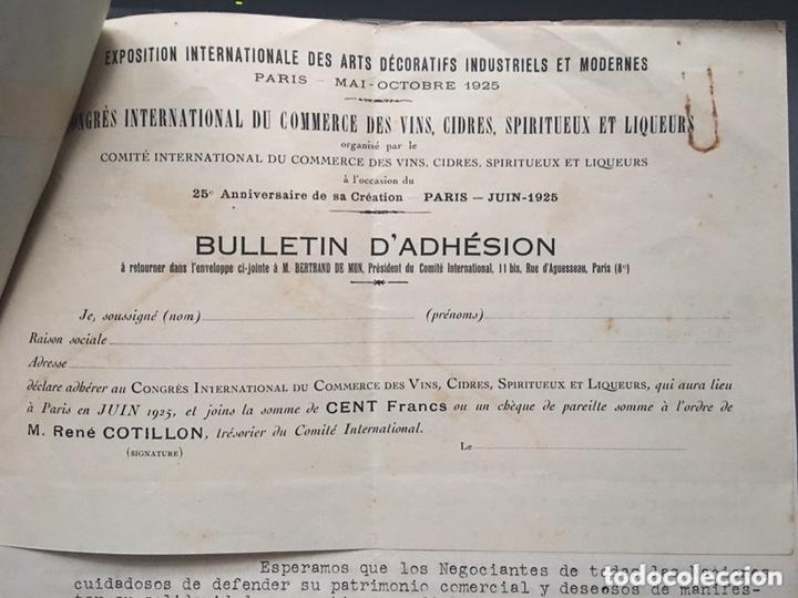 Cartas comerciales: Comité internacional de comercio de vino licores Paris 1925 - Foto 3 - 172254694