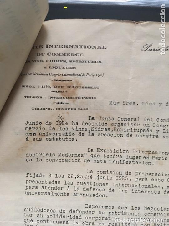 Cartas comerciales: Comité internacional de comercio de vino licores Paris 1925 - Foto 5 - 172254694