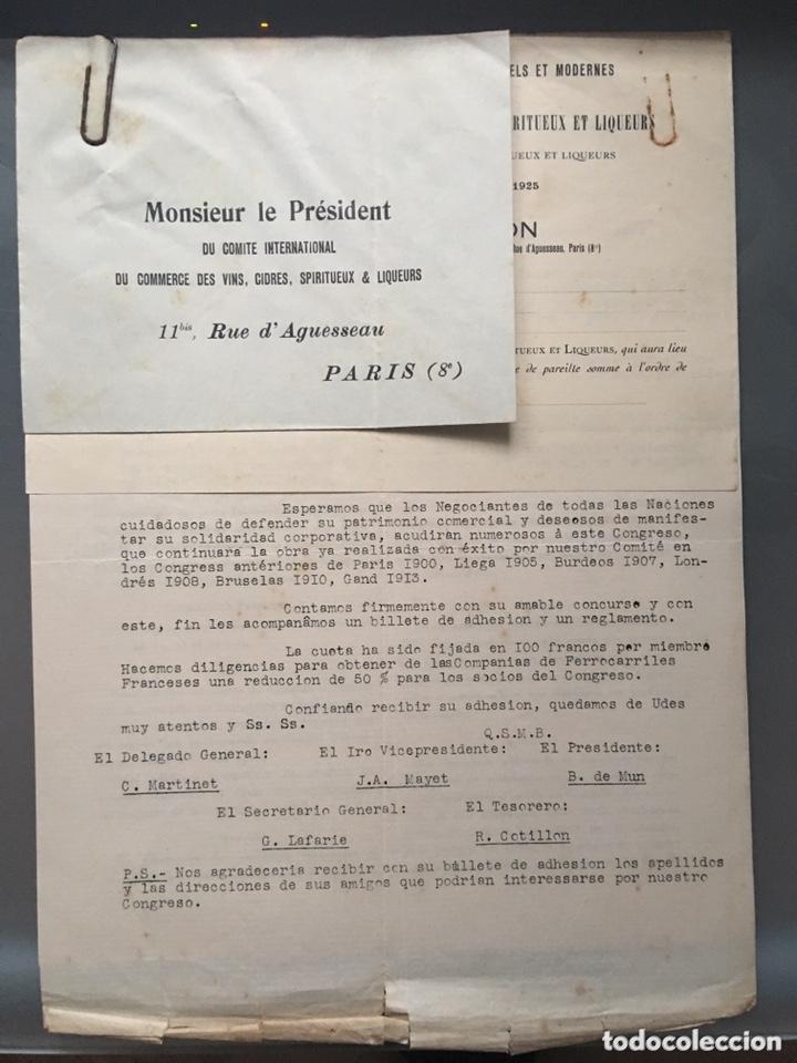 COMITÉ INTERNACIONAL DE COMERCIO DE VINO LICORES PARIS 1925 (Coleccionismo - Documentos - Cartas Comerciales)