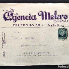 Cartas comerciales: AGENCIA MELERO, COMISIONES - ÁVILA - TARJETA POSTAL CIRCULADA AÑO 1934. Lote 172453868