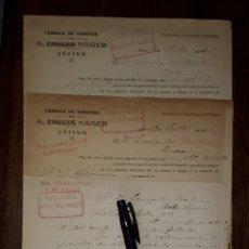 Cartas comerciales: XATIVA A. EMILIA NAGER FABRICA DE CARETAS CABALLITOS Y MUÑECAS JATIVA 1923 1924 VALENCIA . Lote 172936663