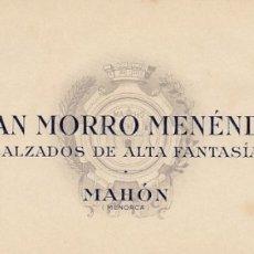 Cartas comerciales: MAHON (MENORCA) CABECERA CARTA COMERCIAL JUAN MORRO MENENDEZ CALZADOS DE ALTA FANTASIA. Lote 173811108