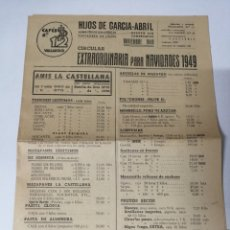 Cartas comerciales: VALLADOLID. HIJOS DE GARCIA-ABRIL. 1949 LISTA DE PRECIOS. CAFÉS 12.. Lote 175191537