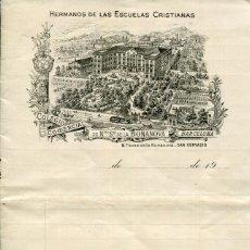 Cartas comerciales: BARCELONA-HERMANOS DE LAS ESCUELAS CRISTIANAS-COLEGIO BONANOVA-SAN GERVASIO-DIPTICO- RARO. Lote 175489087
