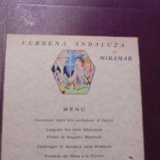 Cartas comerciales: GASTRONOMIA - MENU RESTAURANT PALAU DE MIRAMAR BARCELONA 3 JULIO 1930 VERBENA ANDALUZA EN MIRAMAR . Lote 175657298