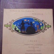 Cartas comerciales: GASTRONOMIA - MENU RESTAURANT PALAIS MIRAMAR BARCELONA 28 JUIN 1931 VERBENA SAN PEDRO EN MIRAMAR . Lote 175662128
