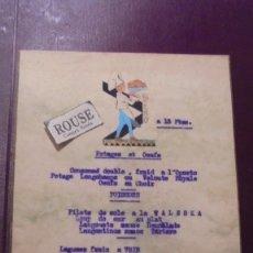 Cartas comerciales: GASTRONOMIA - MENU RESTAURANT PALAIS MIRAMAR BARCELONA 1930 . Lote 175662532