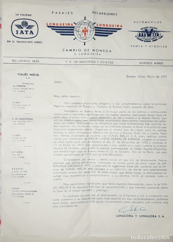 Cartas comerciales: sobre y carta comercial longueira,longueira. buenos aires,1973 - Foto 2 - 175680099