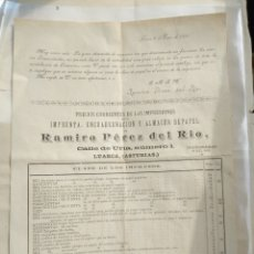 Cartas comerciales: LUARCA 1891 IMPRENTA RAMIRO PÉREZ DEL RIO. Lote 175826590
