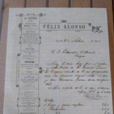 Cartas comerciales: FÉLIX ALONSO LA VICTORIA SASTRERÍA OVIEDO 1890 FIRMA PROPIETARIO. ASTURIAS. Lote 175849213