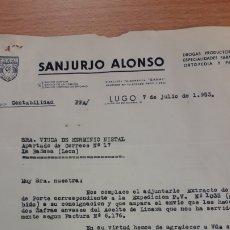 Cartas comerciales: CARTA COMERCIAL DE SANJURJO ALONSO DE LUGO. Lote 176120635
