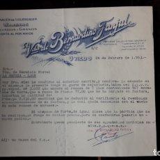 Cartas comerciales: CARTA COMERCIAL DE VDA. DE BERNARDINO FANJUL DE OVIEDO. Lote 176124725