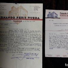 Cartas comerciales: DOS CARTAS COMERCIALES DE FERNANDO PERIS RUEDA DE VALENCIA. Lote 176125252