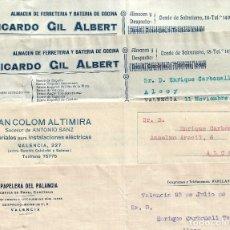 Cartas comerciales: LOTE 4 CARTAS COMERCIALES DE EMPRESAS DE VALENCIA AÑO 1930 - PAPELERA, ELECTRICIDAD Y FERRETERÍA. Lote 176256133