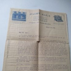 Cartas comerciales: JAIME SALA, AGENTE EXCLUSIVO PARA ESPAÑA DE LAS MÁQUINAS DE ESCRIBIR-TORPEDO-ENERO DE 1925. Lote 176286053