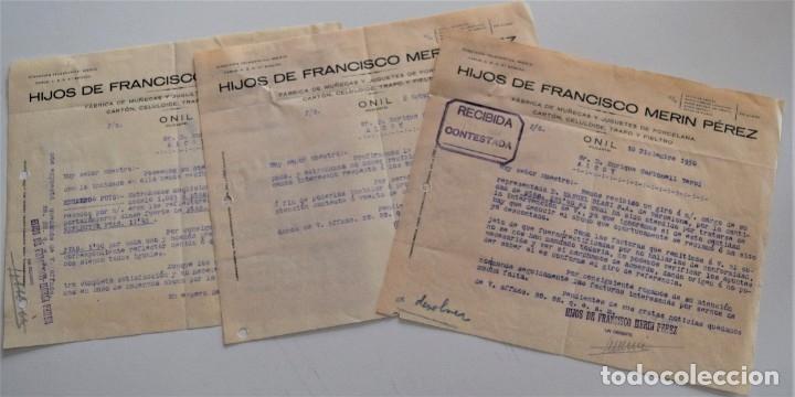 ONIL (ALICANTE) - LOTE 5 CARTAS HIJOS DE FRANCISCO MERIN PÉREZ, FÁBRICA DE MUÑECAS FECHADAS AÑO 1930 (Coleccionismo - Documentos - Cartas Comerciales)