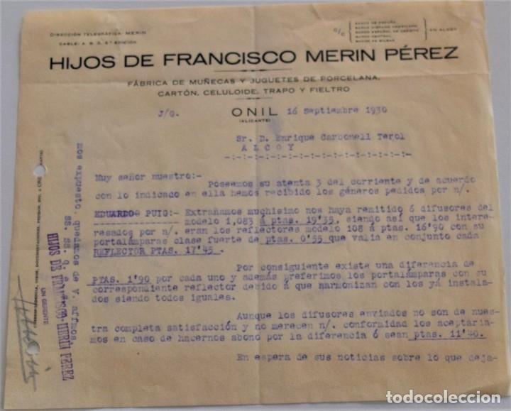 Cartas comerciales: ONIL (ALICANTE) - LOTE 5 CARTAS HIJOS DE FRANCISCO MERIN PÉREZ, FÁBRICA DE MUÑECAS FECHADAS AÑO 1930 - Foto 2 - 176314428