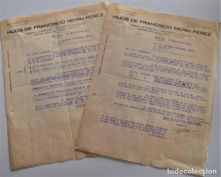 Cartas comerciales: ONIL (ALICANTE) - LOTE 5 CARTAS HIJOS DE FRANCISCO MERIN PÉREZ, FÁBRICA DE MUÑECAS FECHADAS AÑO 1930 - Foto 3 - 176314428
