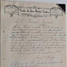Cartas comerciales: VILLENA (ALICANTE) - VIUDA DE JOSÉ BAÑÓN CANTOS, DEPÓSITO CAL, CISCO DE PIÑUELO AÑO 1930. Lote 176314622