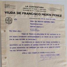 Cartas comerciales: COCENTAINA (ALICANTE) - VIUDA DE FRANCISCO MERÍN PÉREZ, LA CONTESTANA FÁBRICA PAPEL AÑO 1930. Lote 176314863