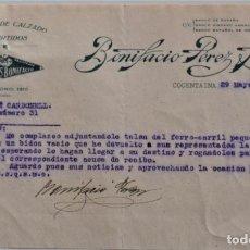 Cartas comerciales: COCENTAINA (ALICANTE) - BONIFACIO PÉREZ LEÓN, FÁBRICA DE CALZADO Y CURTIDOS AÑO 1930. Lote 176314932