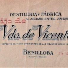 Cartas comerciales: BENILLOBA (ALICANTE) - HIJO DE VDA. DE VICENTE GARCÍA, DESTILERÍA, ANIS DEL LOBO AÑO 1930. Lote 176315184