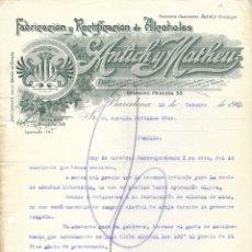 Cartas comerciales: BARCELONA-FABRICACIÓN Y RECTIFICACIÓN DE ALCOHOLES ANTICH Y MATHEU- 1910. Lote 176750433