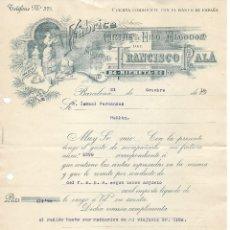 Cartas comerciales: ANTIGUA FACTURA MANUSCRITA FABRICA DE HILO Y ALGODÓN FRANCISCO PALA. BARCELONA 1915. Lote 176750599