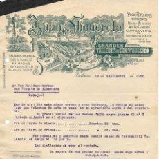 Cartas comerciales: ANTIGUA FACTURA JUAN FIGUEROLA- BOMBAS Y ,MOLINOS A VIENTO. VALENCIA 1920. Lote 176750885
