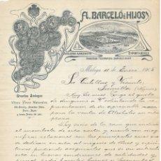Cartas comerciales: CARTA COMERCIAL BODEGAS HIJOS DE ANTONIO BARCELÓ . MÁLAGA . 1905 .. Lote 176780705