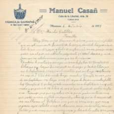 Cartas comerciales: CARTA COMERCIAL MANUEL CASAÑ FÁBRICA DE GARRAFAS . 1929 VALENCIA. MASANASA. MANUSCRITA. Lote 176781363