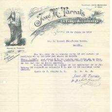 Cartas comerciales: FACTURA JOSÉ Mª TARRATS SUCESOR DE LA FABRIL ALGODONERA-HILADOS TORCIDOS Y TEJIDOS ALGODÓN 1915. Lote 176781805