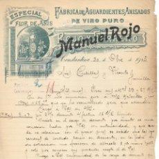 Cartas comerciales: FABRICA DE AGUARDIENTES Y ANISADOS FLOR DE ANÍS .CONSTANTINA .SEVILLA AÑO 1905. MANUSCRITA. Lote 176785319