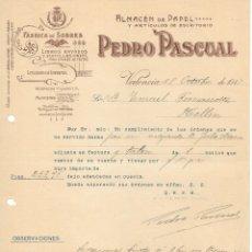 Cartas comerciales: CARTA COMERCIAL ALMACEN PAPEL PEDRO PASCUAL VALENCIA 1915. Lote 176785517