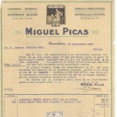 Cartas comerciales: CARTA COMERCIAL LITOGRAFÍA IMPRENTA MIGUEL PICAS. BARCELONA 1926. Lote 176785597