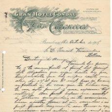 Cartas comerciales: CARTA COMERCIAL MANUSCRITA A DOS CARAS DEL GRAN HOTEL CONDAL DE BARCELONA- PEDRO CASANOVAS 1915. Lote 176785792
