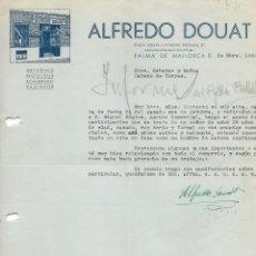 Cartas comerciales: CARTA COMERCIAL CUCHILLERIA ALFREDO DOUAT. MALLORCA 1942. Lote 176787628