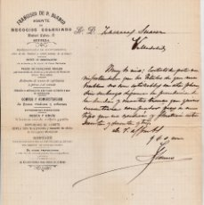 Cartas comerciales: CARTA FRANCISCO DE P.BLANCO AGENTE DE NEGOCIOS SEVILLA A VALLADOLID. Lote 177212265