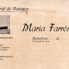 Cartas comerciales: AGENCIA GENERAL DE PASAJES BARCELONA MARIA FARRÉS TEMA BARCOS. Lote 157745134