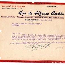 Cartas comerciales: MOLINO ESPECIERO ALFONSO CERDA TORRE PACHECO (MURCIA). Lote 177531919