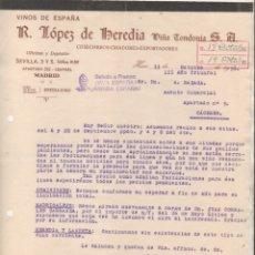 Cartas comerciales: R. LÓPEZ DE HEREDIA VIÑA TONDONIA. VINOS DE ESPAÑA. HARO. LOGROÑO. 1938 FRANCO GUERRA CIVIL. Lote 177553574