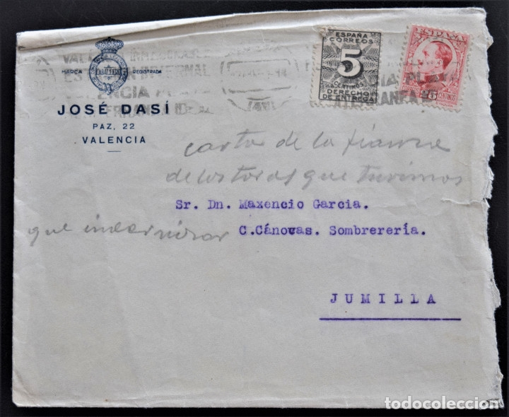 VALENCIA - COÑAC CABALLERO - JOSE DASÍ - SOBRE (Coleccionismo - Documentos - Cartas Comerciales)