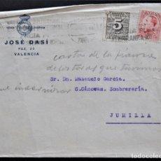 Cartas comerciales: VALENCIA - COÑAC CABALLERO - JOSE DASÍ - SOBRE. Lote 177806844