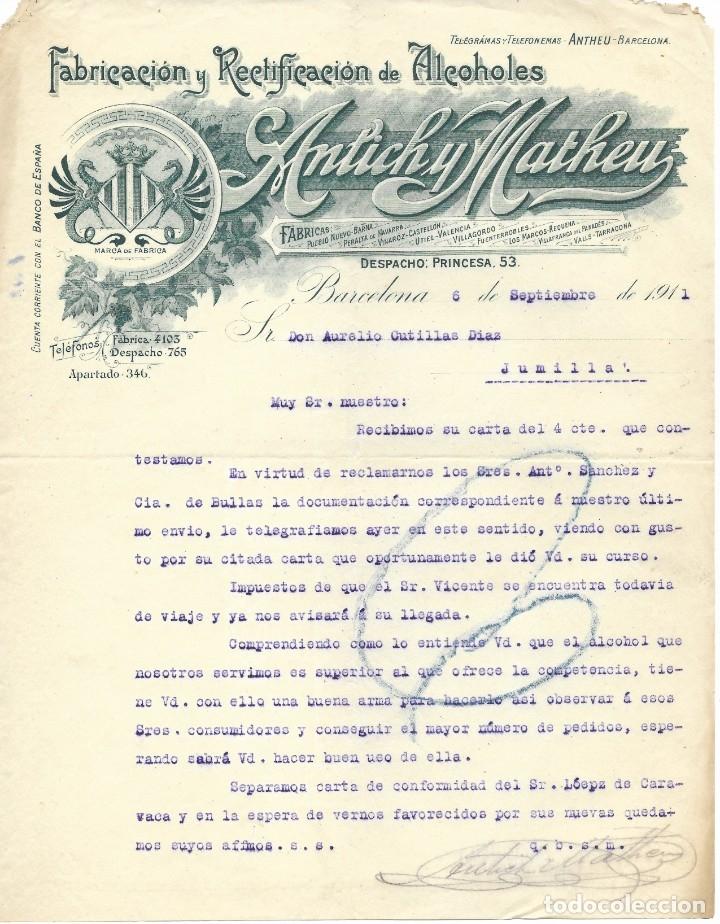 BARCELONA-FABRICACIÓN Y RECTIFICACIÓN DE ALCOHOLES ANTICH Y MATHEU- 1911 (Coleccionismo - Documentos - Cartas Comerciales)