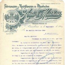 Cartas comerciales: BARCELONA-FABRICACIÓN Y RECTIFICACIÓN DE ALCOHOLES ANTICH Y MATHEU- 1911. Lote 178111085