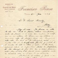 Cartas comerciales: ANTIGUA CARTA COMERCIAL MANUSCRITA FABRICAS DE CINTAS DE SEDA FRANCISCO PONSA. MANRESA AÑO 1916. Lote 178120078
