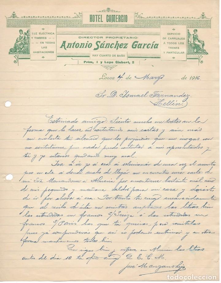 LORCA 1916 HOTEL COMERCIO. ANTONIO SANCHEZ GARCIA CARTA COMERCIAL MANUSCRITA (Coleccionismo - Documentos - Cartas Comerciales)