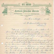 Cartas comerciales: LORCA 1916 HOTEL COMERCIO. ANTONIO SANCHEZ GARCIA CARTA COMERCIAL MANUSCRITA. Lote 178121595