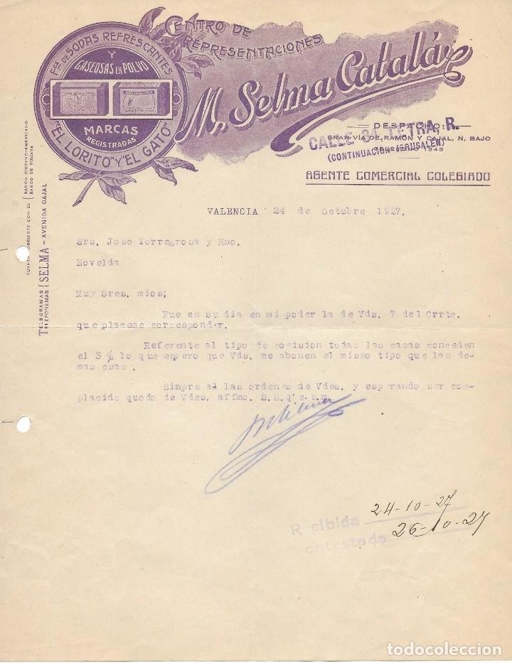 CENTRO DE REPRESENTACIONES SELMA CATALÁ VALENCIA 1927. DIRIGIDA A NOVELDA (Coleccionismo - Documentos - Cartas Comerciales)