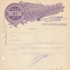 Cartas comerciales: CENTRO DE REPRESENTACIONES SELMA CATALÁ VALENCIA 1927. DIRIGIDA A NOVELDA. Lote 178122084